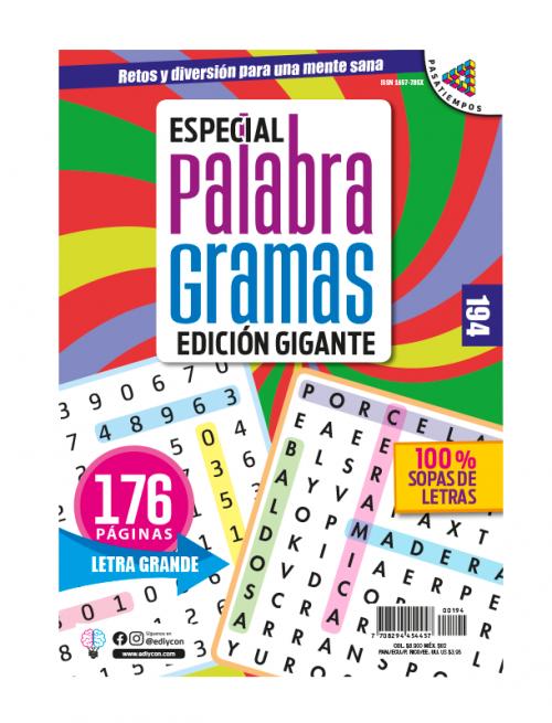 especial palabragramas, edicion gigante, 100% sopas de letras, letra grande, EPG194