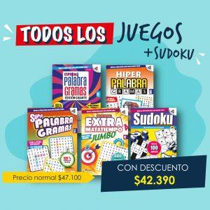 Especial palabragramas, Hiper Palabragramas, Super Palabragramas, Megapasatiempos, Todos los juegos + sudoku